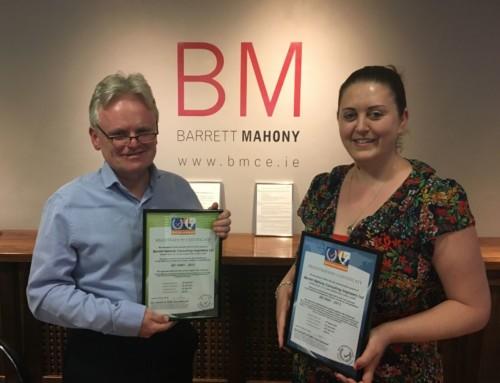 Barrett Mahony Achieve ISO 9001:2015 and 14000:2015